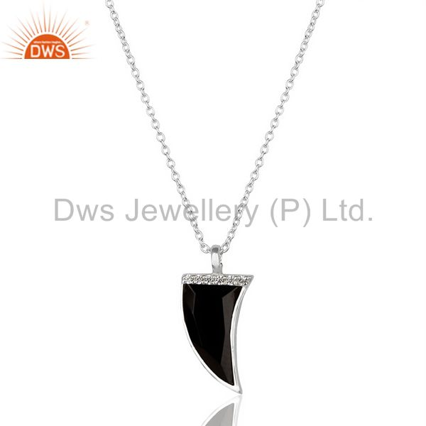 Black Onyx Horn Cz Studded Chain 92.5 Sterling Silver Pendent,Trendy Pendent