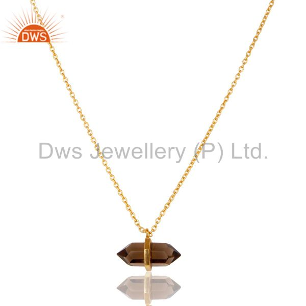 Smoky Topaz Terminated Pencil Gold Plated Sterling Silver Pendent Jewelry