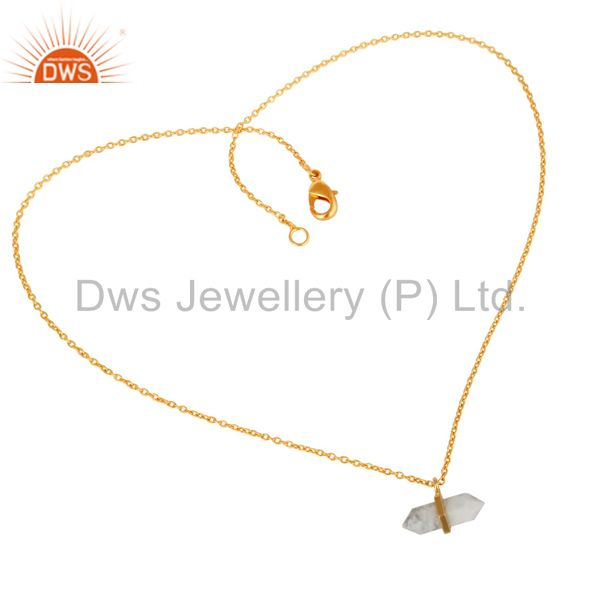 Howlite Terminated Pencil Gold Plated Sterling Silver Pendent Jewelry