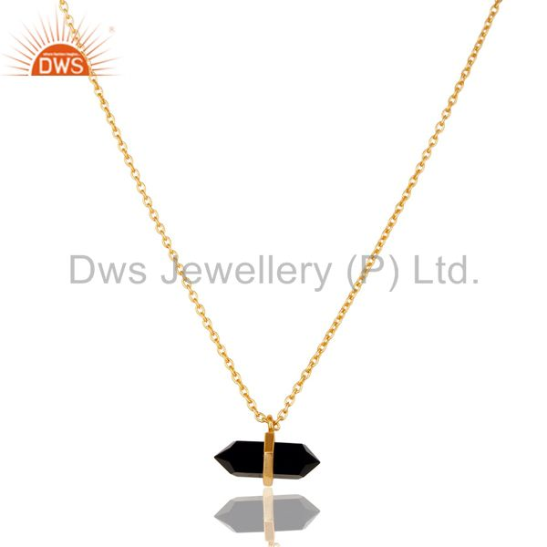 Black Onyx Terminated Pencil Gold Plated Sterling Silver Pendent Jewelry