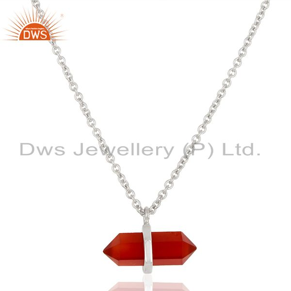 Red Onyx Terminated Pencil 925 Sterling Silver Pendent Wholesale Jewellery