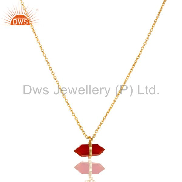 Red Onyx Terminated Pencil Gold Plated Sterling Silver Pendent Jewelry