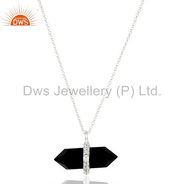 Black Onyx Terminated Pencil Cz Studded 92.5 Sterling Silver Pendent