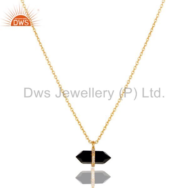 Black Onyx Terminated Pencil Cz Studded 14K Gold Plated Silver Pendent