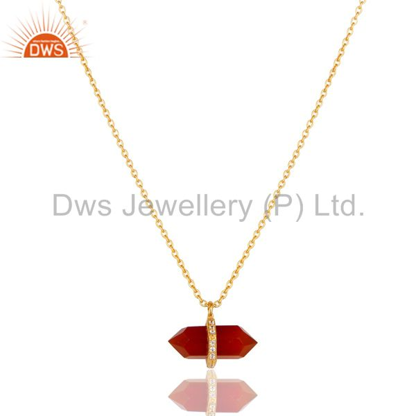 Red Onyx Terminated Pencil Cz Studded 14K Gold Plated Silver Pendent