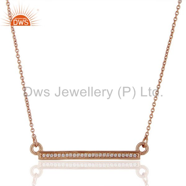 White Cz Studded Long Bar Necklace Rose Gold Plated Sterling Silver Necklace