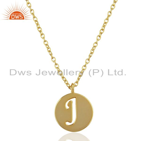 14K Yellow Gold Plated 925 Sterling Silver J Alphabet Chain Pendant Jewelry