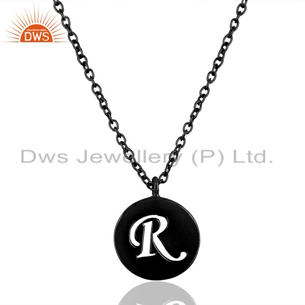 Black Oxidized 925 Sterling Silver R Alphabet Chain Link Pendant Jewelry