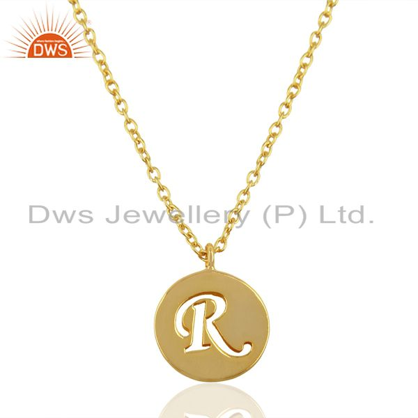 14K Yellow Gold Plated 925 Sterling Silver R Alphabet Chain Pendant Jewelry