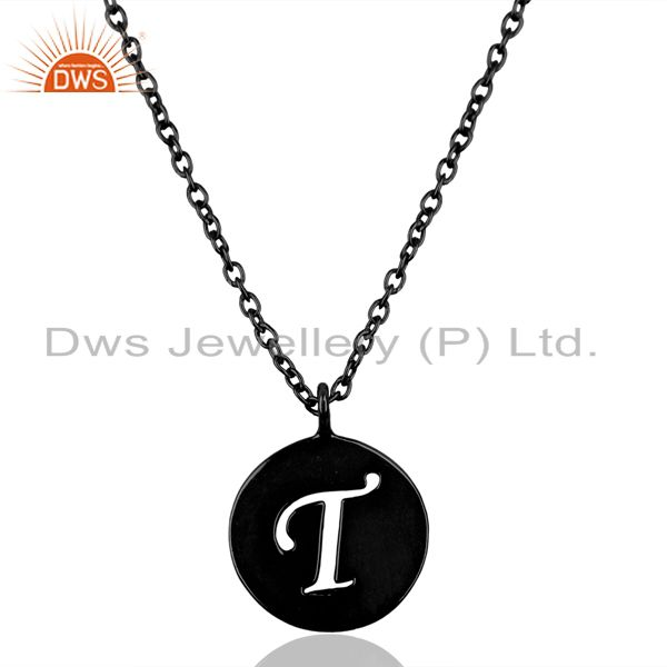 Black Oxidized 925 Sterling Silver T Alphabet Chain Link Pendant Jewelry