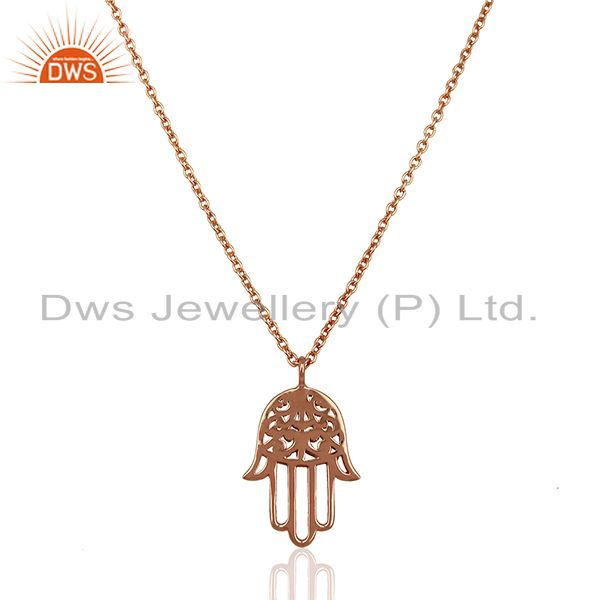 Rose Gold Plated Hamsa Charm Silver Chain Pendant Jewelry Supplier