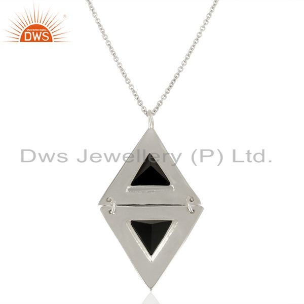 Black Onyx Double Triangle 925 Sterling Silver White Rhodium Plated Pendant