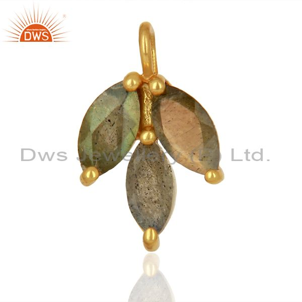 Labradorite Gemstone Gold Plated Silver Connector Jewelry Findings
