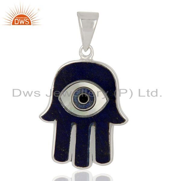 Lapis And Mother Of Pearl Designer Carved Hamsa 92.5 Sterling Silver Pendent