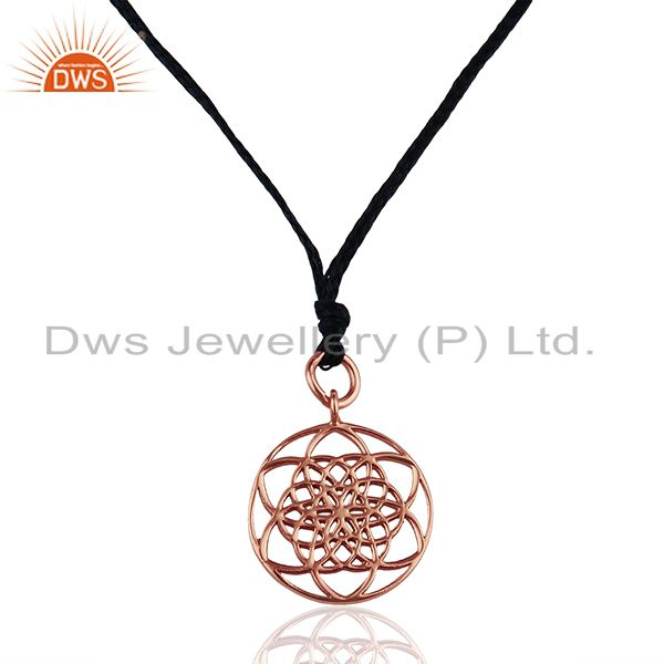 Flower Of Life 925 Sterling Silver Rose Gold Plated Darkblue Silk thread Pendant