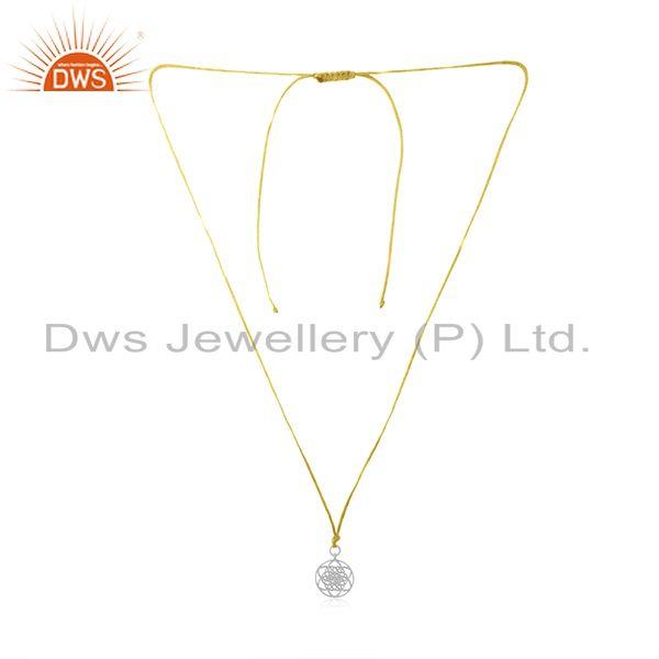Yellow Macrame Cord Solid Sterling Silver Pendant Manufacturer Jaipur