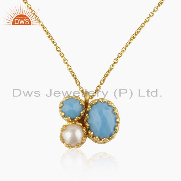Turquoise and Pearl 925 Silver Gold Plated Chain Pendant Manufacturers