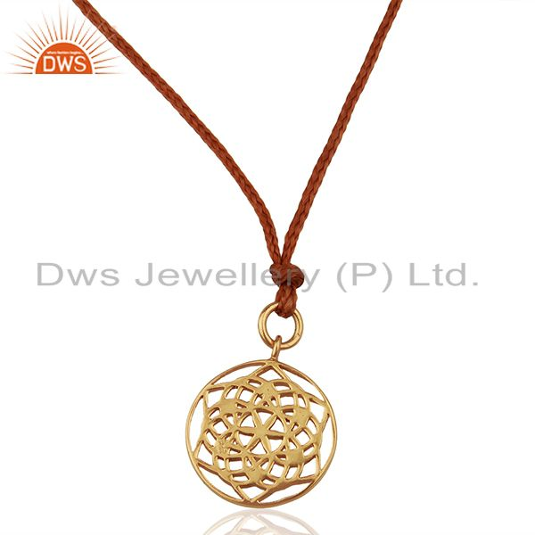 Flower of Life 925 Sterling Silver Brown Silk thread Pendant And Necklace