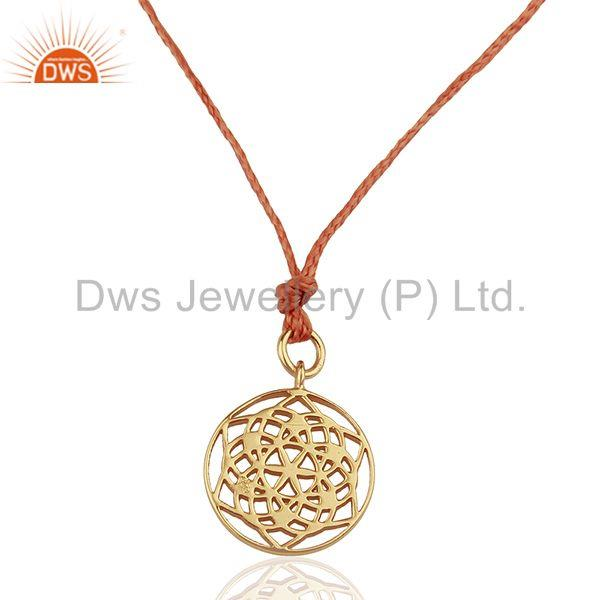 Flower of Life 925 Sterling Silver Orange Silk thread Wholesale Jewelry