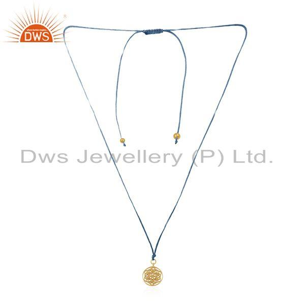 Indian Handmade Gold Plated Sterling Plain Silver Macrame Pendant