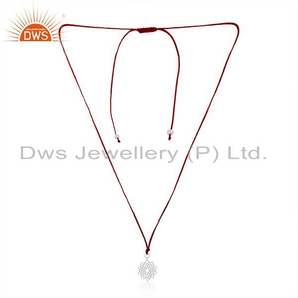 Fine Sterling Silver Designer Pendant With Dark Red Macrame Cord