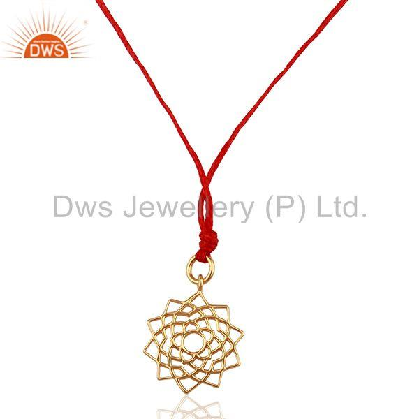 Sahasrara chakra 925 Sterling Silver Red Silk Thread Pendant And Necklace
