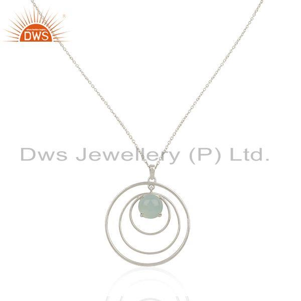 Chalcedony Gemstone Fine 925 Silver Circle Chain Pendant Manufacturer India