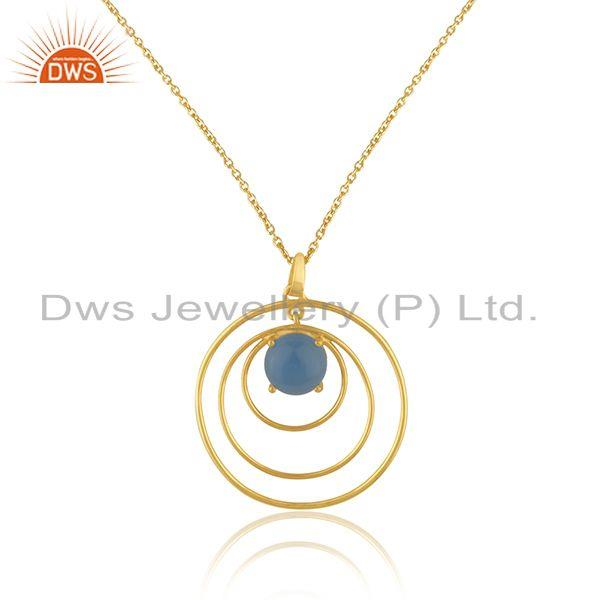 Blue Chalcedony Gemstone Gold Plated 925 Silver Chain Pendant Manufacturer INdia