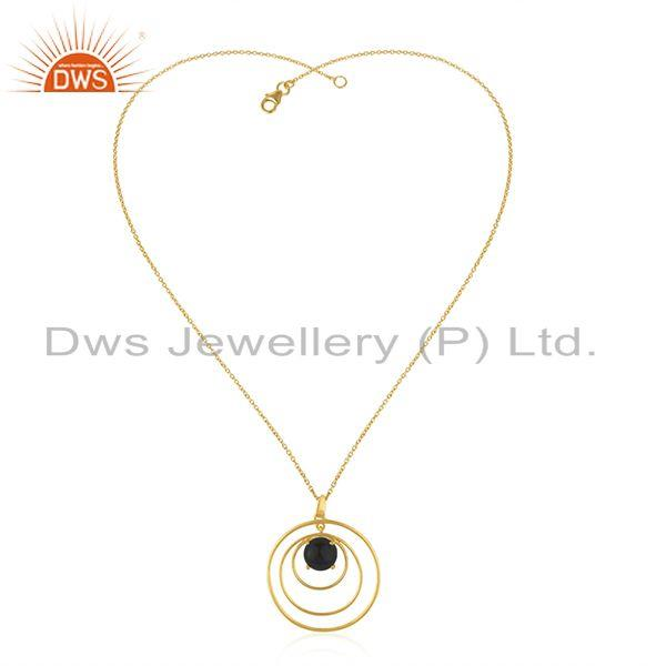 Round Circle Design 925 Silver Gold Plated Black Onyx Gemstone Pendant