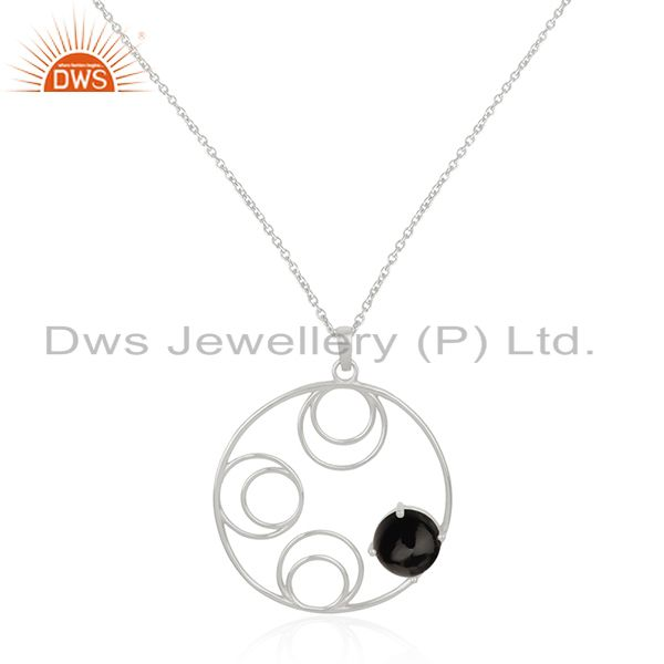 92.5 Sterling Silver Black Onyx Gemstone Chain Pendant For Womens