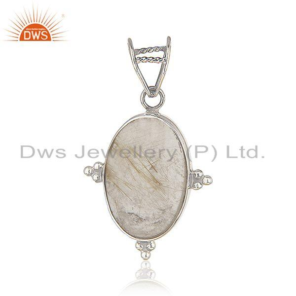 Golden Rutile Gemstone Sterling Silver Designer Pendant Wholesale Suppliers