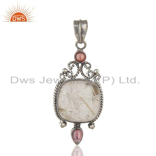 Oxidized Sterling Silver Moonstone and Garnet Gemstone Pendant Manufacturers
