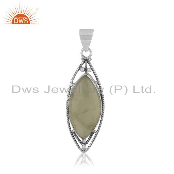 Oxidized Sterling Silver Prehnite Gemstone Pendant Jewelry