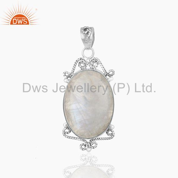 Designer Sterling 92.5 Silver Oxidized Moonstone Rainbow Pendant Wholesale