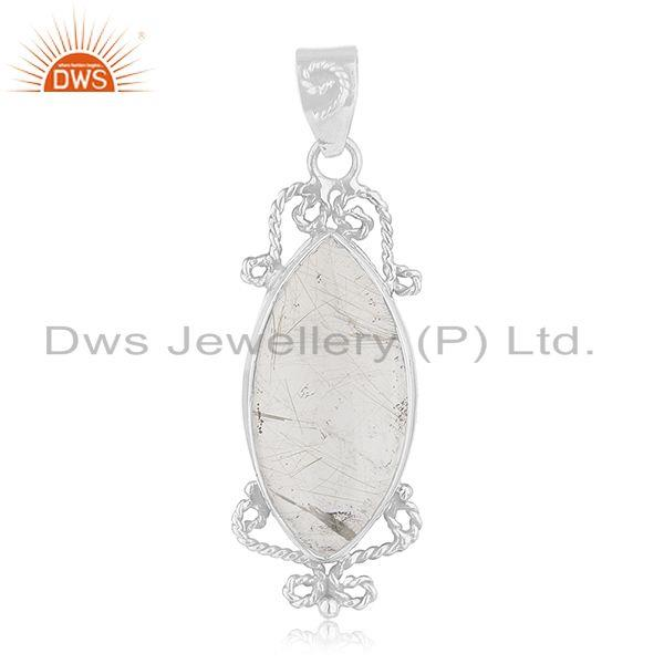 Designer 925 Sterling Silver Rutile Quartz Gemstone Pendant Wholesale Suppliers
