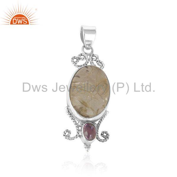 Golden Rutile and Amethyst Gemstone Custom Silver Pendant Manufacturer