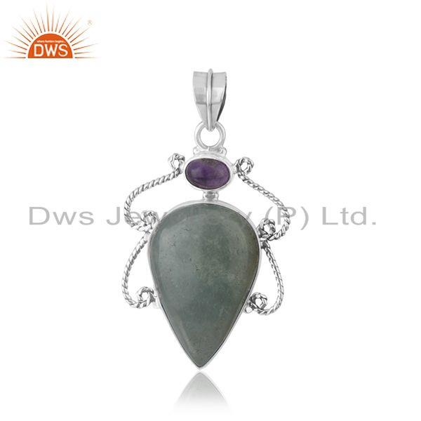 Aquamarine Amethyst Gemstone Sterling SIlver Oxidized Pendant Supplier