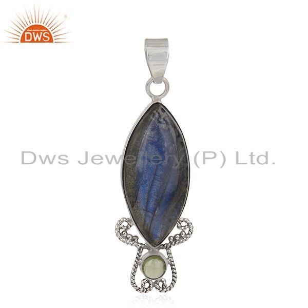 Natural Labradorite Gemstone Sterling Silver Artisan Pendant Manufacturer India