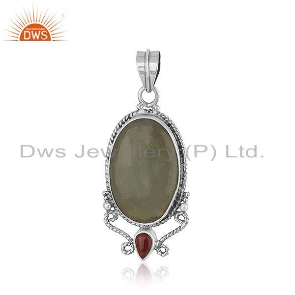 Garnet Aquamarine Gemstone Oxidized Sterling Silver Pendant Jewelry