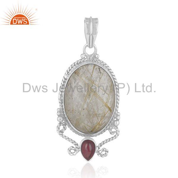 Custom Design 925 Silver Natural Multi Gemstone Pendant Manufacturer
