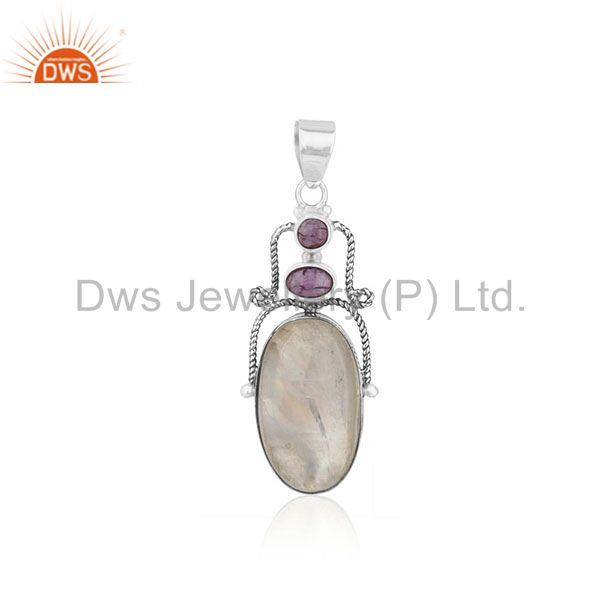 Amethyst Gemstone Oxidized 925 Sterling Silver Oxidized Pendant Manufacturer