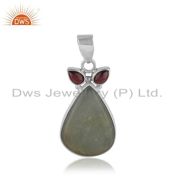 Natural Garnet Aquamarine Gemstone Silver Pendant Jewelry