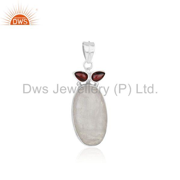 Rainbow Moonstone and Garnet Gemstone 925 Silver Custom Pendant Wholesale