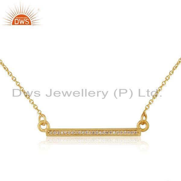 White Zircon 925 Sterling Silver Gold Plated Bar Necklace Pendant Manufacturer