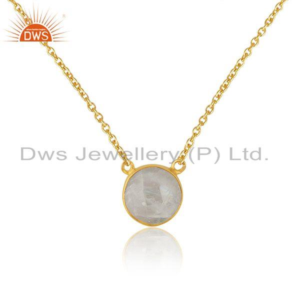 Indian Gold Plated Silver Rainbow Moonstone Gemstone Chain Pendant Jewelry