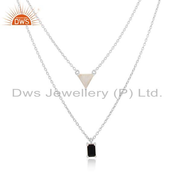 Black Onyx and Rainbow Moonstone Fine Sterling Silver Necklace Wholesale