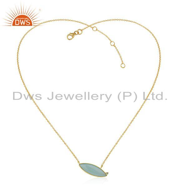 Aqua Chalcedony Gemstone Gold Plated 925 Silver Chain Necklace Jewelry