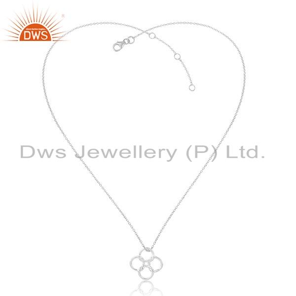 925 Sterling Fine Plain Silver Circle Connect Design Chain Pendant Jewelry