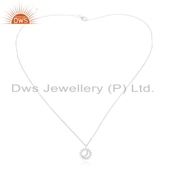Indian Sun and Moon Design 925 Sterling Fine Silver Chain Pendant Jewelry For Girls