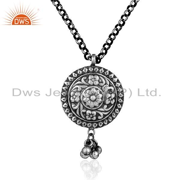 Indian Tribal Silver Oxidized Designer Chain Pendnat Jewelry